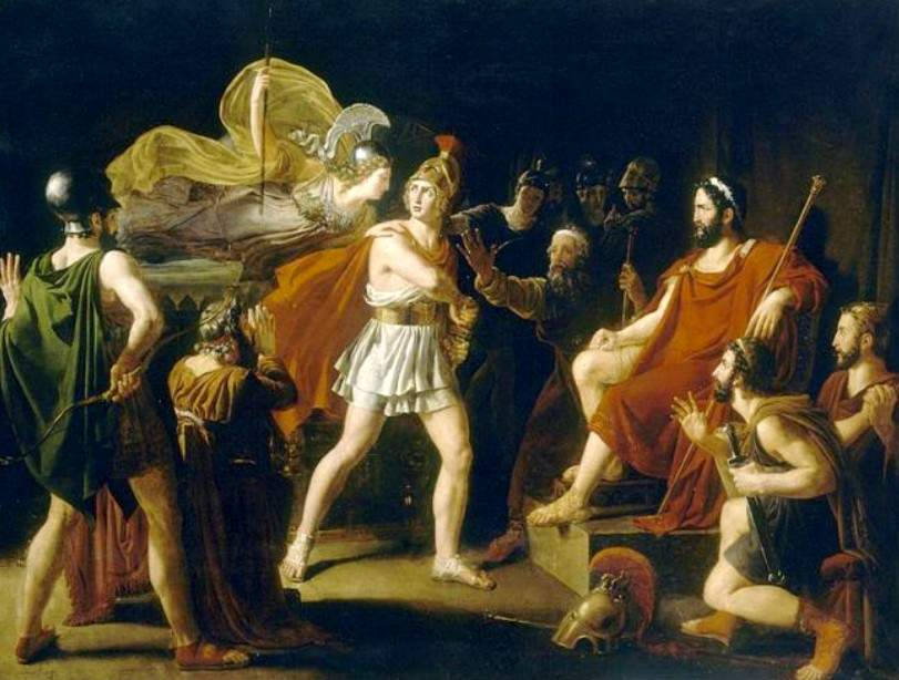 who do you think is right between achilles and agamemnon s feud Jupiter, granting her suit, incenses juno: between whom the debate runs high, till they are since great achilles and atrides strove, such was the sovereign doom, and such the will of jove let agamemnon lift his haughty head o'er all his wide dominion of the dead, and mourn in blood that e'er.